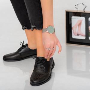 Pantofi piele naturala Pec negri