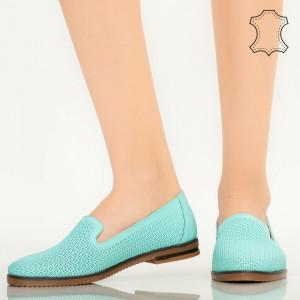 Pantofi piele naturala Velha turcoaz
