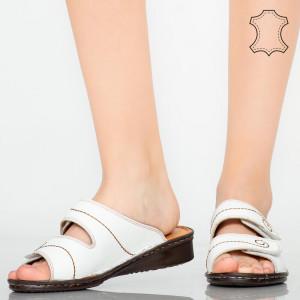 Papuci piele naturala Rodo albi