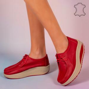 Piros Maxo valódi bőr cipő