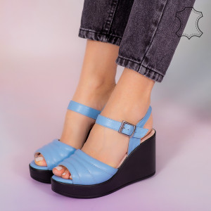 Sandale piele naturala Ber albastre