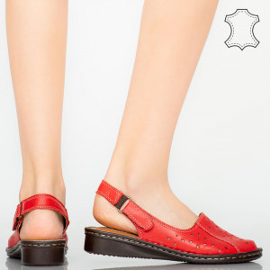 Sandale piele naturala Cest rosii