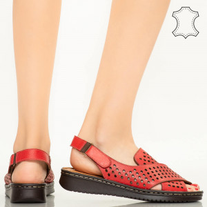 Sandale piele naturala Cox rosii