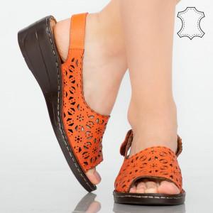 Természetes bőr platformok Narancssárga mandzsetta