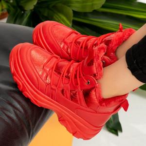 Κόκκινες μπότες γούνας Tyla