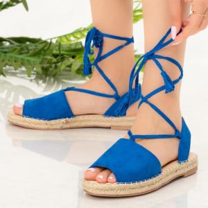 Дамски сандали от синя земя