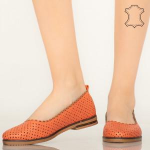 Pantofi piele naturala Bauru portocalii