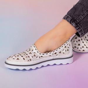 Pantofi piele naturala Bes albi