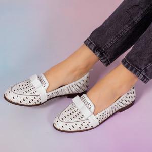 Pantofi piele naturala Bio albi