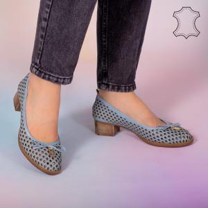 Pantofi piele naturala Bro albastri