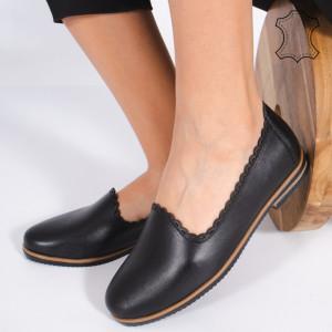 Pantofi Piele Naturala BUR Negri