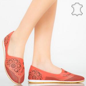Pantofi piele naturala Cess rosii