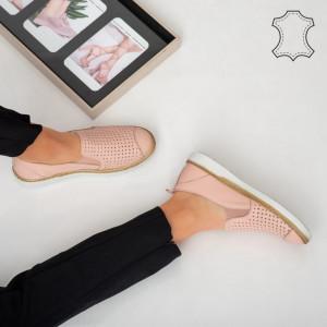 Pantofi piele naturala Erim roz