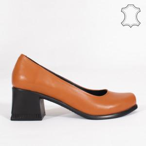 Pantofi Piele Naturala FELY Camel