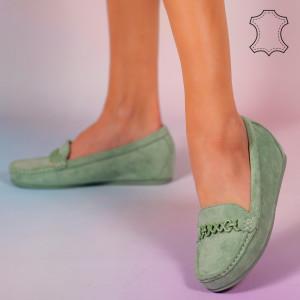 Pantofi piele naturala Melle verzi