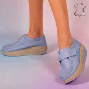 Pantofi piele naturala Metas bleu