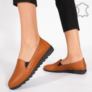 Pantofi Piele Naturala MUDE Camel