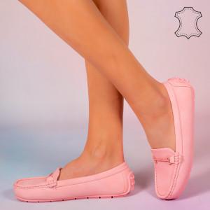 Pantofi piele naturala Muli roz