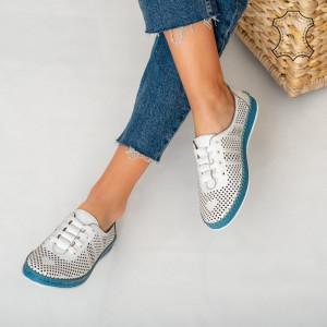 Pantofi piele naturala Sup albi