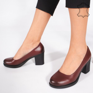 Pantofi Piele Naturala VIVE Bordo