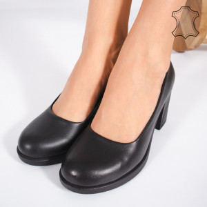 Pantofi Piele Naturala VIVE Negre