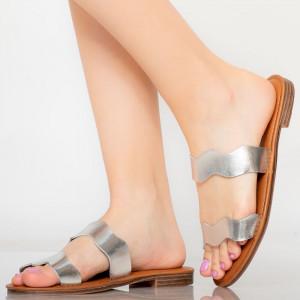 Papuci dama Wolf argintii