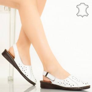 Sandale piele naturala Cest albe