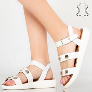 Sandale piele naturala Eme albe