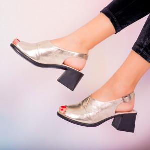 Sandale piele naturala Melo aurii