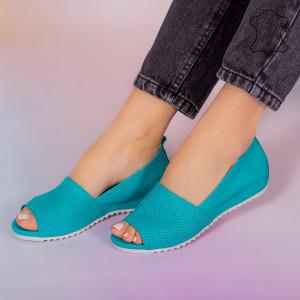 Естествени тюркоазени кожени сандали