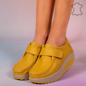 Metas sárga valódi bőr cipő