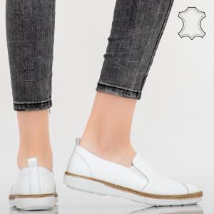 Pantofi piele naturala Bok albi