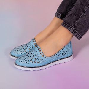 Pantofi piele naturala Bon albastri