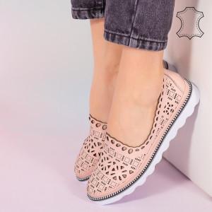 Pantofi piele naturala Bon roz