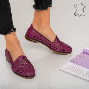 Pantofi piele naturala Fras mov