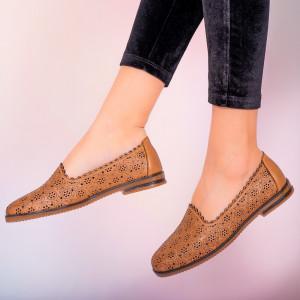 Pantofi piele naturala Hill maro