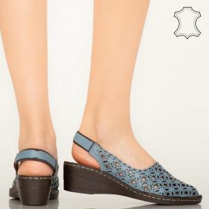Pantofi piele naturala Huan albastri