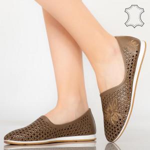 Pantofi piele naturala Kawa maro