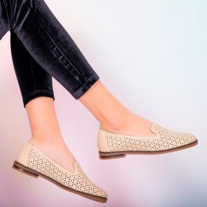 Pantofi piele naturala Maua bej
