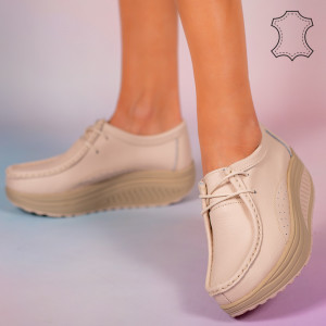 Pantofi piele naturala Maxo bej