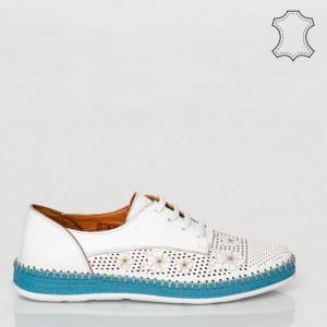 Pantofi piele naturala Nash albi