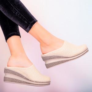 Papuci piele naturala Movis bej