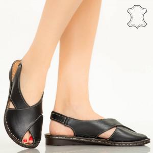 Sandale piele naturala Dom negre