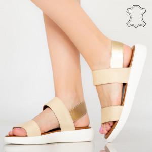 Sandale piele naturala Zeta bej