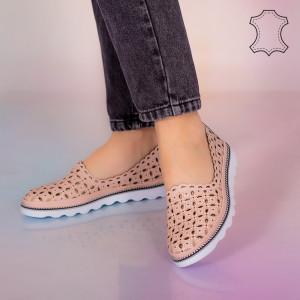 Valódi bőr cipő Jó rózsaszín