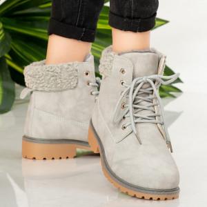 Γκρι μπότες γούνας Tef