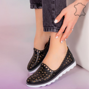 Fekete Bix valódi bőr cipő