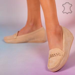 Melle bézs természetes bőr cipő