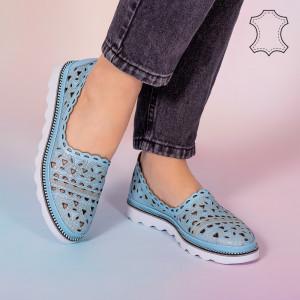 Pantofi piele naturala Bes albastri