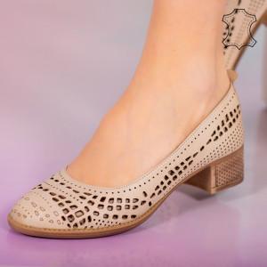 Pantofi piele naturala Bie bej
